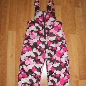 OSHKOSH B'GOSH Sz 24 M Hearts Snow Pants Overalls